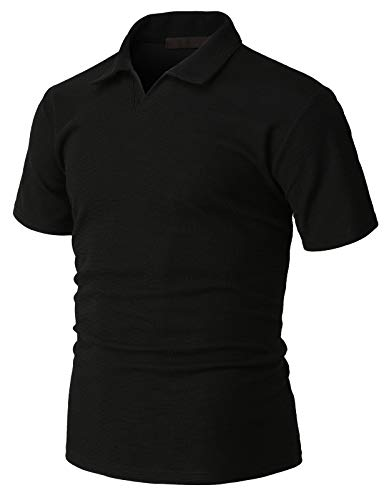 H2H Mens Casual Slim Fit Short Sleeve Polo T-Shirts Various Styles Black US M/Asia L (Best H2h Polo Shirt)
