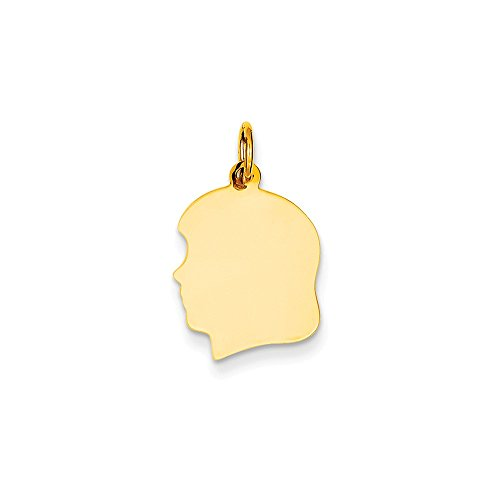 Engravable Gold Pendants - 14k Yellow Gold Medium 0.011 Ga. Facing Left Engravable Girl Head Charm Pendant
