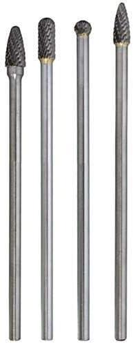 JF-XUAN 4Pcs Long Reach Rotary Burr Double Cut Tungsten Carbide Bit 1//4 Inch Shank 6 Inch Set Drill