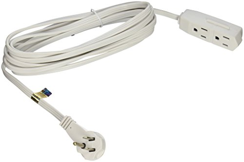 slimline 2232 flat plug extension cord 3 wire white 13 foot import it all. Black Bedroom Furniture Sets. Home Design Ideas