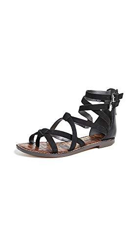 Sam Edelman Women's Gaton Sandal Black Leather 10.5 M - Black Croco Leather