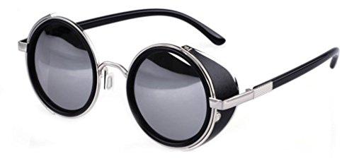 Nouveau Rondes Steampunk Unisexe de Vintage Lunettes Shades Cyber Soleil Noir Miroir Style Goggles rXvwr4ZxIq