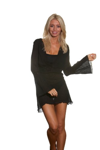 Long Sleeve Tunic with Crochet Band Gauze Cover Dress