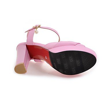 LvYuan Mujer Sandalias Tira en el Tobillo PU Verano Vestido Tira en el Tobillo Pedrería Perla Tacón RobustoBlanco Negro Beige Rosa Brillante blushing pink