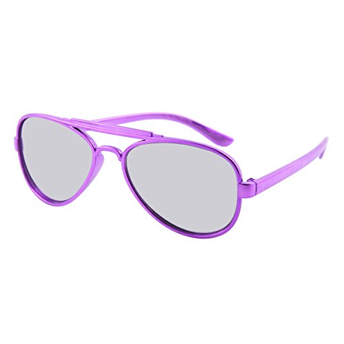 Damara Unisex - Kinder Dioptrie Null Brillengestelle Mit Glänzend Rahmen,Lila Rahmen/Schwarz Linse