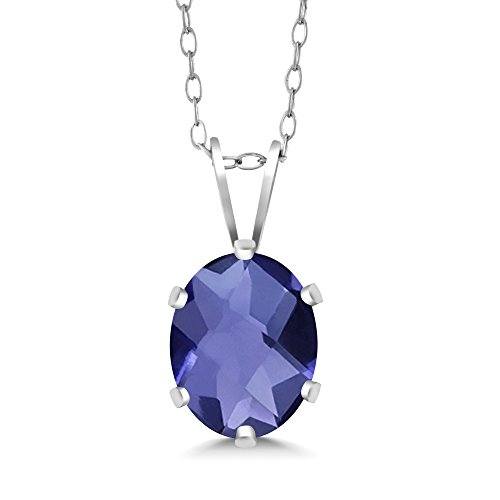 0.65 Ct Oval Checkerboard Shape Iolite 925 Sterling Silver Pendant
