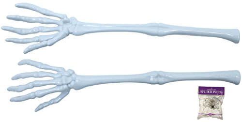 Bundle: 2 Piece Skeleton Tongs Set and FREE Pack of Spider Web (Comes with Free How to Live Stress Free (Halloween Vegetable Skeleton)