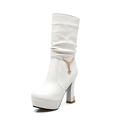 Heels High On Top Toe Women's Boots Mid Closed Round Allhqfashion White Pull q0FE0Y