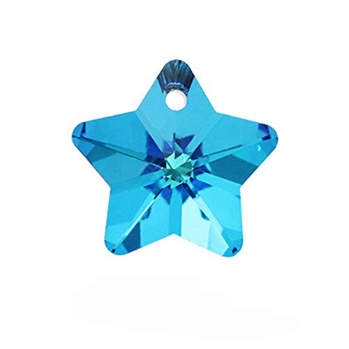 10 Pcs Star Shaped Crystal Pendant Accessories Bulk Glass Pentagram Loose Beads Electroplated Faceted Charm Findings by EORTA for DIY Craft Earrings Necklace Jewellery Making Sewing, 14 MM, Blue