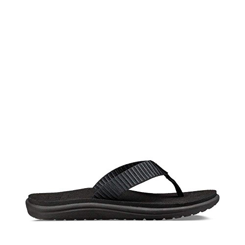 Flops Flip Leather Teva (Teva Women's W Voya Flip-Flop, Bar Street Black, 8 M US)