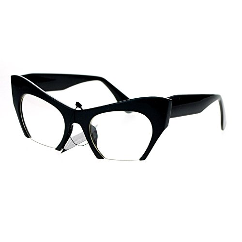 SA106 Unique Avant Garde Crop Bottom Cat Eye Clear Lens Eye Glasses - Eyeglasses Garde Avant