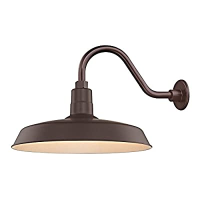 """Bronze Farmhouse Style Industrial Gooseneck Outdoor Barn Light with 18"""" Shade for Wet and Damp Locations"""