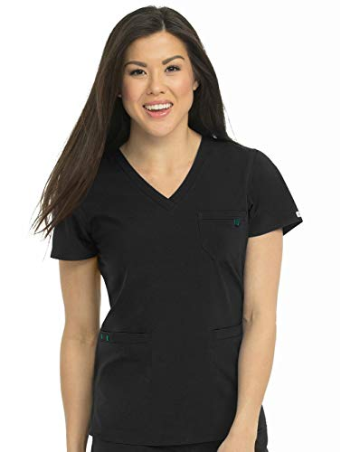 Med Couture Energy Women's 3-Pocket V-Neck Scrub Top, Black, X-Small from Med Couture