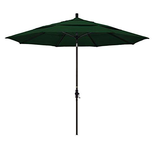 California Umbrella 11' Round Aluminum Pole Fiberglass Rib Market Umbrella, Crank Lift, Collar Tilt, Bronze Pole, Hunter Green Olefin