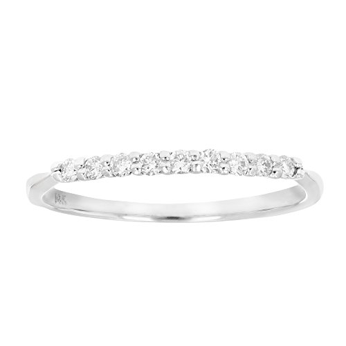 1/5 ctw Petite Diamond Wedding Band in 14K White Gold In Size 8