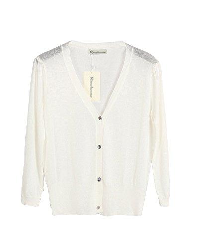 Aperto Anteriore Maglione Maglia 4 Cardigan Bianco Liangzhu 3 Cappotto Donne Manica pxBqwn6zg