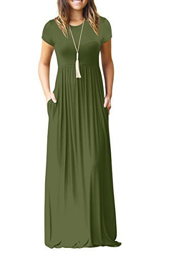 RBwinner Women's Short Sleeve Maxi Dress With Pockets Plain Loose Swing Casual Floor Length Long Dresses,Army Green,Large