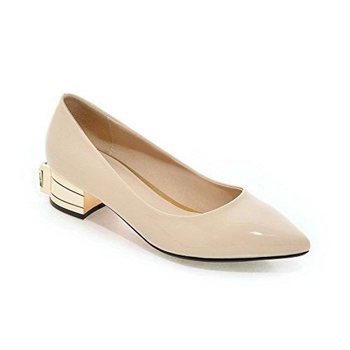 Odomolor Women's Pull-on Low-Heels PU Solid Pointed Closed Toe Pumps-Shoes Beige kT8k3yMjH