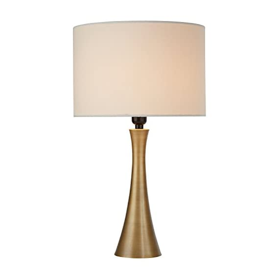 "Amazon Brand – Rivet Mid-Century Modern Needle Sloped Table Desk Lamp with Light Bulb and White Drum Shade, 21""H, Brass - A warm accessory to any room, this sleek, curved table lamp adds high style to your décor while providing pleasing light. A drum shade adds a classic touch. Contemporary style with classic touch Metal with antique brass finish - lamps, bedroom-decor, bedroom - 31G79bpGA L. SS570  -"