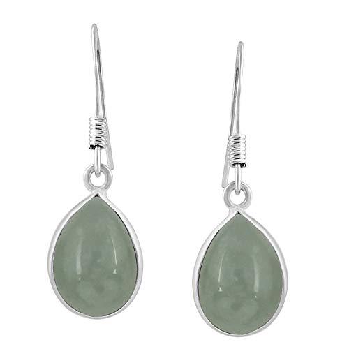 (Aquamarine Tear Drop Dangle Earrings 925 Silver Plated Handmade Jewelry For Women Girls)