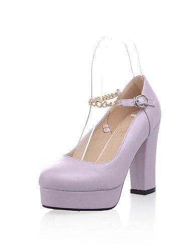 ZQ Zapatos de mujer - Tacón Robusto - Tacones / Punta Cerrada - Oxfords - Exterior / Oficina y Trabajo / Casual - Semicuero -Azul / Rosa / , blue-us10.5 / eu42 / uk8.5 / cn43 , blue-us10.5 / eu42 / uk blue-us6.5-7 / eu37 / uk4.5-5 / cn37