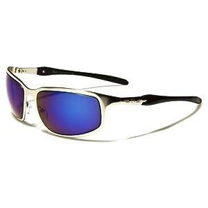 Khan New 2014 Men's Cycling Riding Sleek Sports Sunglasses-KN37468 (Silver-Blue Lens)