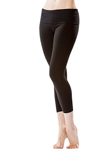 Calf Tail (Roll Down Mid-Calf Yoga Legging by Hard Tail (Black, Large))