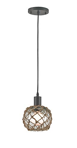 Currey and Company 9577 Fairwater - One Light Large Pendant, Old Iron/Natural Finish