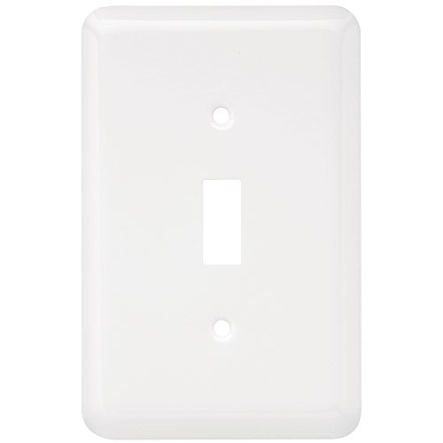 Franklin Brass W10245-W-C Stamped Round Single Toggle Switch Wall Plate/Switch Plate/Cover, White