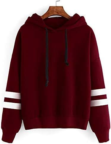 Womens Long Sleeve Hoodie Sweatshirt Jumper Hooded Pullover Tops for Teen Girls Striped Loose Print Blouse