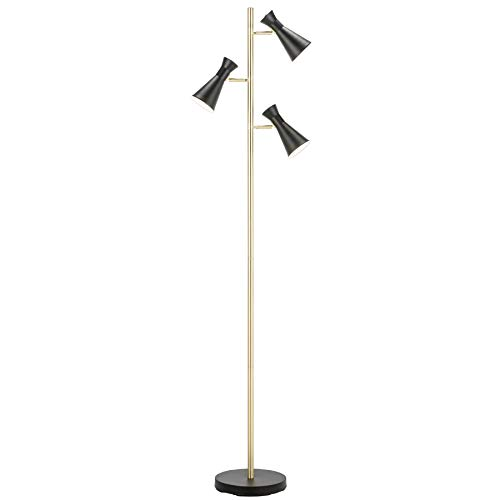 CO-Z LED Floor Lamp, 3 Light Tree Torchiere Floor Lamp for Living Room Corner Bedroom Home Office, Bright Brass Pole Industrial Modern Standing Reading Light with 3 Adjustable Black Heads