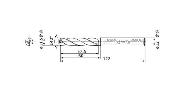 Mitsubishi Materials MVS1150X03S120 MVS Series Solid Carbide Drill 12 mm Shank Dia. 3 mm Hole Depth 2.1 mm Point Length Internal Coolant 11.5 mm Cutting Dia