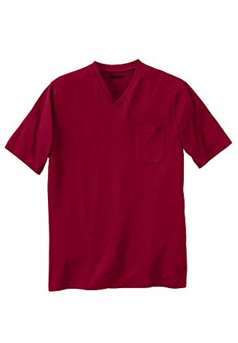 KingSize Men's Big & Tall Lightweight V-Neck Pocket T-Shirt, Rich Burgundy Tall-3XL ()
