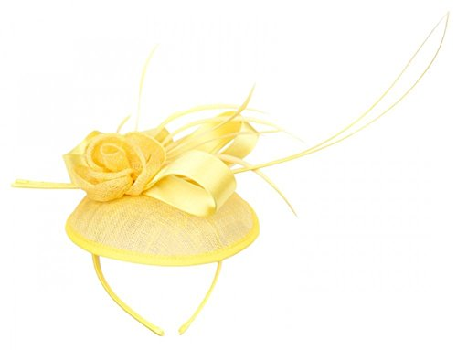 Symphony Bridal Veil (Womans Classy Fascinator Headpiece with Ribbon and Flower trim - Sinamay fabric -)