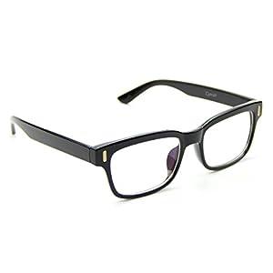 Cyxus Clear Lens Plain Glasses, Retro Fashion Unisex Spectacles (Classic Black Frame)