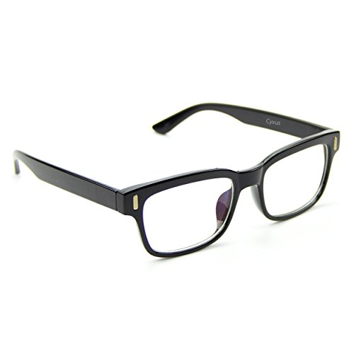 Cyxus Clear Lens Plain Glasses, Retro Fashion Unisex Spectacles (Classic Black - Retro Spectacles