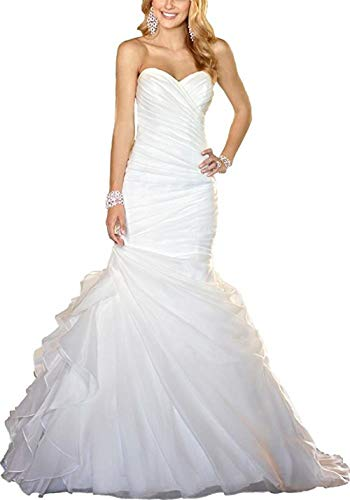 (Women's Sweetheart Ruched Organza Bridal Gown Mermaid Wedding Dress for Bride Size 12 White)