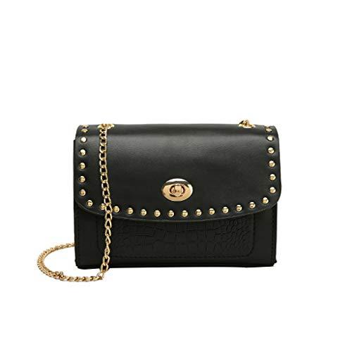 Sapienc Ladies Business Bag Women Joker One Shoulder Slung Fashion Lock Chain Small Square Bag