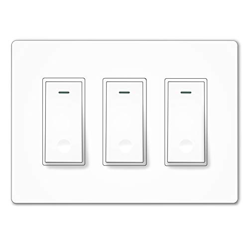 Multi 3 Light - MOES WiFi Smart Light Switch,3 Gang No Screw Panel Smartlife/Tuya App Wireless Remote Control In-Wall Timer Switch for Lights,Compatible with Alexa,Google Home and IFTTT,No Hub required