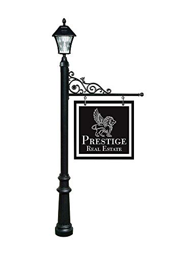Qualarc REPST-800-BL-SL Prestige Powder Coated Aluminum Real Estate, Business and Yard Sign, with Bayview Solar Lamp & Fluted Base in Black, Ships in 2 boxes ()