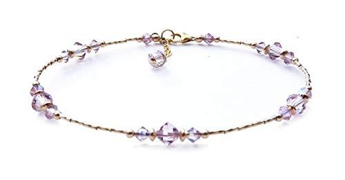 DAMALI Handmade 14K GF Alexandrite Beaded Anklet, June Birthstone, Swarovski Crystal Ankle Bracelets