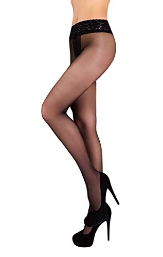 Low Waist Pantyhose Tights Sheer & Opaque Hipsters for Women (M, Nero) ()