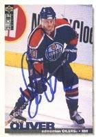 Autographed Collectors Card Edge (David Oliver Edmonton Oilers 1995 UD Collectors Edge Autographed Card - Rookie Card. This item comes with a certificate of authenticity from Autograph-Sports. Autographed)