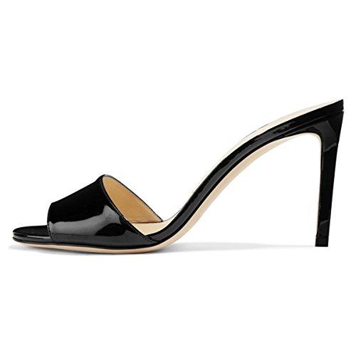 Fsj Femmes Casual Peep Toe Mule Sandales Talons Hauts Talons Chaussures De Soirée Partie Taille 4-15 Us Noir-brevet