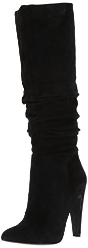 High Heel Slouch Boots (Steve Madden Women's Carrie Slouch Boot, Black Suede, 9.5 M US)