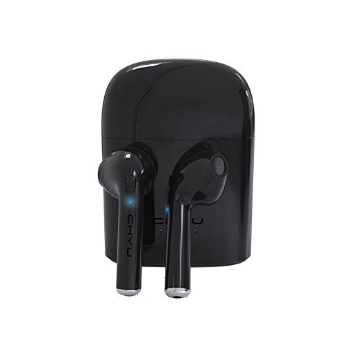 Chyu Earbuds Mini Twins TWS Wireless Headset In-Ear Headphone Earphone Earpiece with Charging Case For IOS, Android, All Bluetooth Devices - Black by Chyu