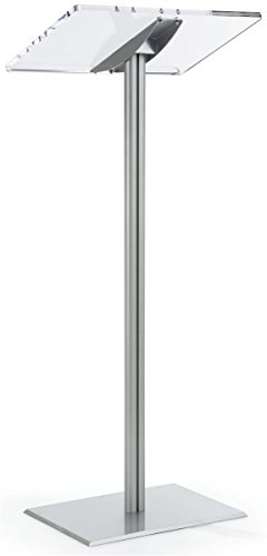 - Displays2go Floor Standing Speaking Podium, Slanted Top, Quick Assembly, Silver (CLRLECBNDS)