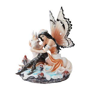 - LuxMart Winter Snow Fairy Playing w Unicorn Figurine Statue Faery Collection Mystical