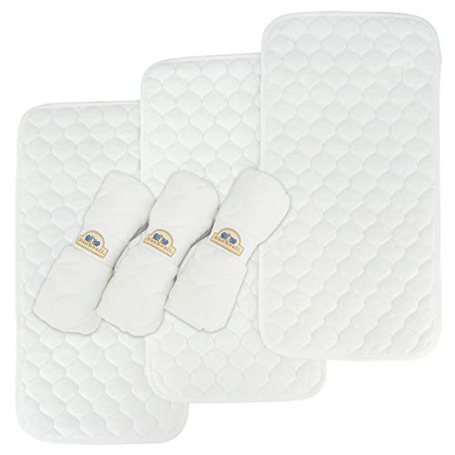 - Bamboo Quilted Thicker Waterproof Changing Pad Liners, 6 Count by BlueSnail(White)