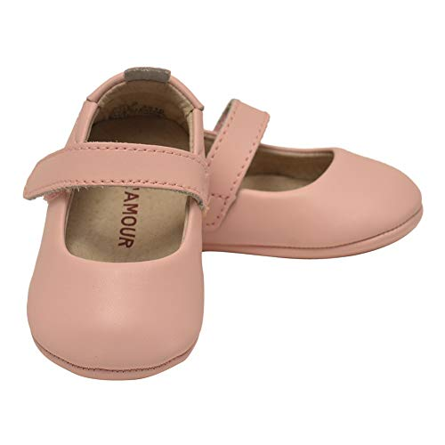 L`Amour Baby Girls Pink Leather Crib Soft Sole Mary Jane 0 ()